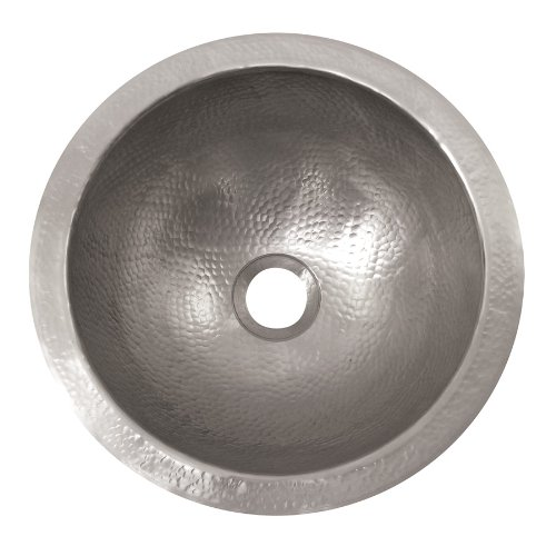 The Copper Factory CF148SN Solid Hand Hammered Copper Medium Round Undermount Lavatory Sink, Satin Nickel