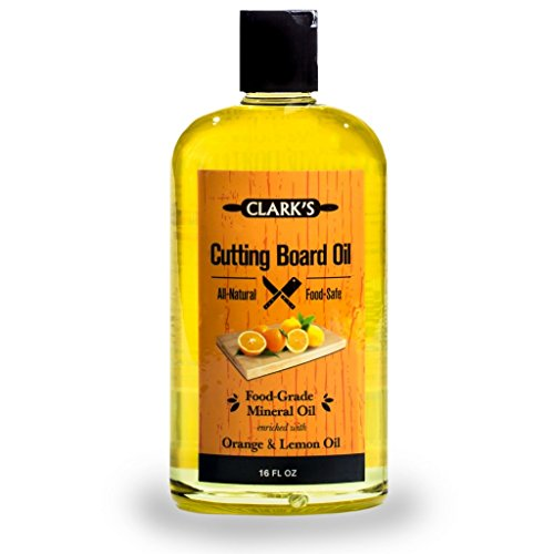 CLARK'S Cutting Board Oil (16oz) | Enriched with Lemon & Orange Oils | Food Grade Mineral Oil |Butcher Block Oil & Conditioner