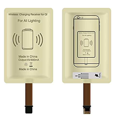 Wireless Charging Receiver,Ultra Slim Add-on Qi Receiver wireless charger kit for iPhone 7/7plus,6/6s plus,6/6s,5/5S/SE,iPad and Other Apple - Tech Station Kit