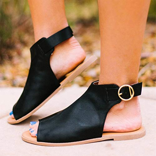 Women Peep Toe Flat Buckle Casual Shoes Sandals NDGDA Ladies Roman Flat Fish Mouth Buckle Casual Shoes