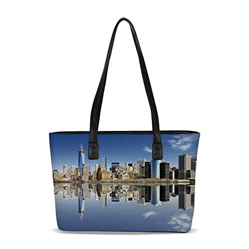 New York City PU Shoulder Tote Bag,Manhattan Island Silhouette with Skyscrapers (Macys In New York City)