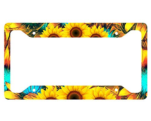 DIY Rine Sunflower License Plate Frame Novelty Auto Car Tag Vanity Gift for Law Enforcement
