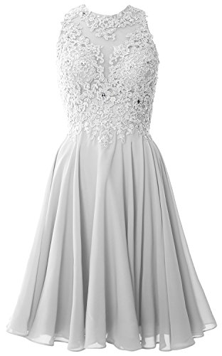 Gown Dress Lace Short MACloth Weiß Homecoming Prom High Cocktail Women Formal Neck wSqXXn1Hv7