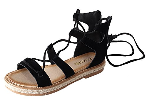 VOLOER Teen-girl's Women's Roman Flat Laced-up Sandals Flat Shoes With Fringe (Roman Outfits For Womens)