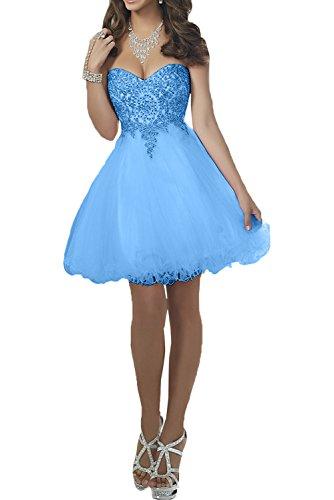 Mini Blau Abschlussballkleider Damen Charmant Herzausschnitt Romantisch Spitze Promkleider Cocktailkleider Abiballkleider f1O1qPa