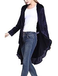 Urban CoCo Women's Long Sleeve Velvet Cardigan Coat with Asymmetric Chiffon Hem