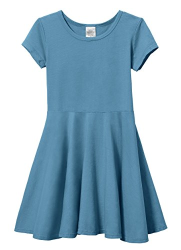 City Threads Big Girls' Short Sleeve Twirly Circle Party Dress Perfect For Sensitive Skin/SPD/Sensory Friendly For School or Play Fall/Spring, Teal, 7