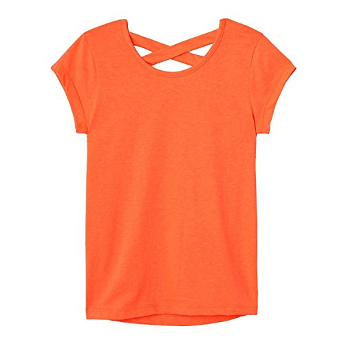 French Toast Girls' Big Short Sleeve Cross Back Top, Fiery Coral, M (7/8) by French Toast