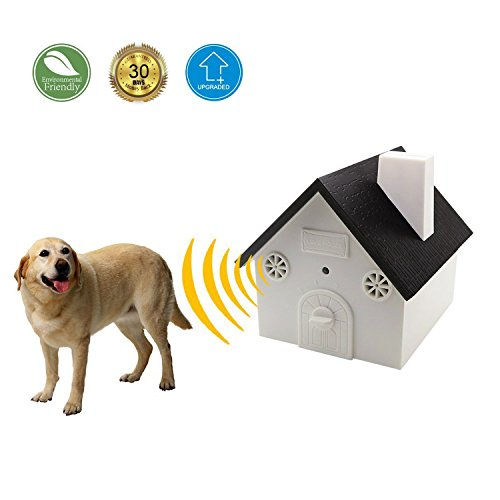 HappyHomey Ultrasonic Outdoor Anti-Bark Controller Sonic Bark Deterrent, No Harm To Dog or other Pets, Plant, Human, Easy Hanging/Mounting On Tree, Wall, Or Fence Post.