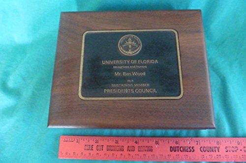University Keepsake Box - Vintage University of Florida wooden brass keepsake jewelry box presidents Honor