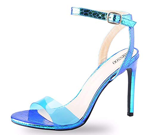 (CAMSSOO Women's Single Band Stiletto Heels Open Toe Ankle Strap Clear Sandals Blue Size US6)