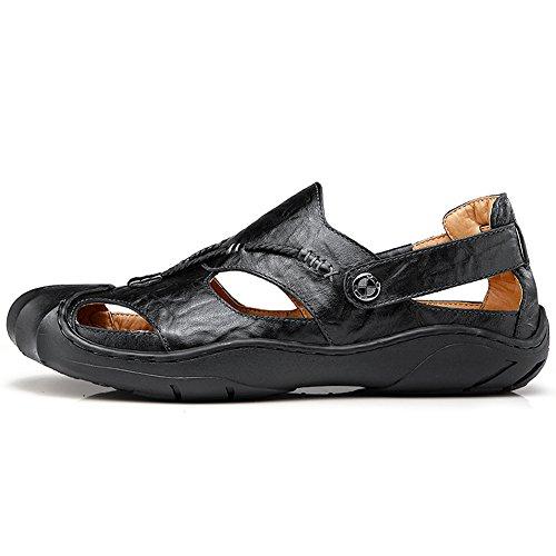 Toe Slipper Summer Sandal Closed Beach Shoes GOMNEAR Sandals Black Men Leather Fashion wIpZBq
