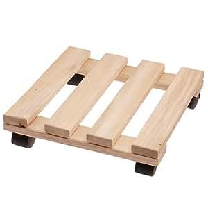 Soporte con ruedas para maceteros 25 x 25 cm - Soporte de madera con 4 ruedas para maceteros: Amazon.es: Jardín