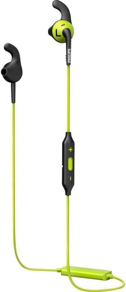 Philips SHQ6500CL - Auriculares Deportivos con Bluetooth 4.1 (Cable Reforzado con Kevlar, Ajuste Seguro, diseño Resistent al Agua), Color Verde y Negro