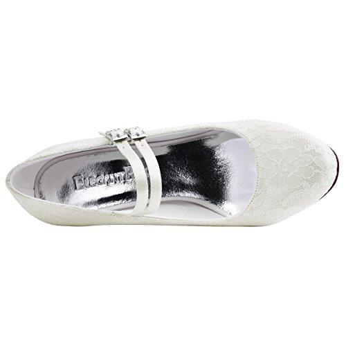 ElegantPark HC1701 Mujer Zapatillas Tacón alto Mary Jane Hebilla Satén Cordones Zapatos de Boda Marfil
