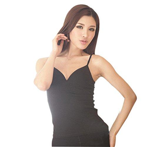 Donna Vest Senza Maniche T Pure Shirt Cotone Colore Lanotta ACVIP 1 con Reggiseno Colore Top vXxPddw