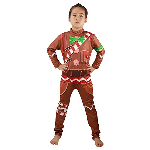 HuangWeida Boys' Costume Gingerbread Cosplay Jumpsuit for Party Halloween Christmas (Brown, L)]()