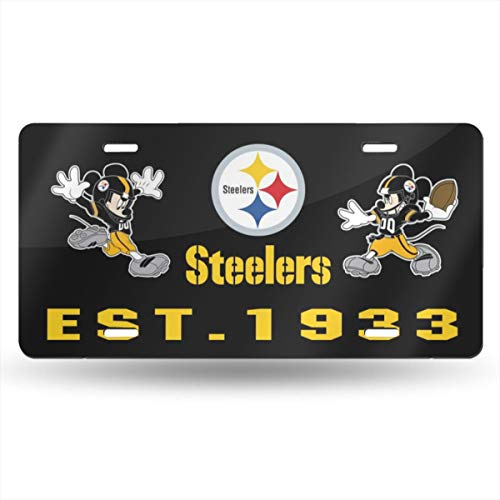 Jerrymoaus Pittsburgh Steelers Cartoon Mouse Metal License Plate Tag