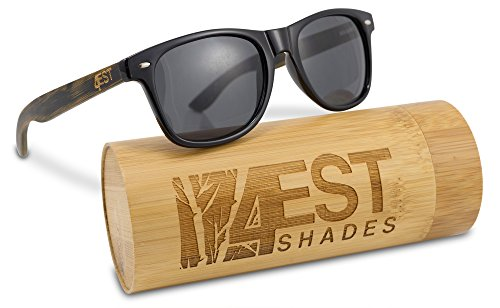 Bamboo Sunglasses - 100% Polarized Wood Shades for Men & Women from the 50/50 Collection Burnt Bamboo