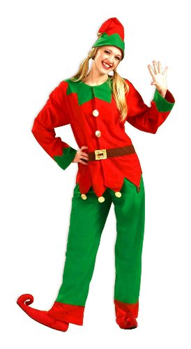 [Forum Novelties Men's Simply Elf Costume, Green/Red, X-Large] (Green And Red Elf Costumes)