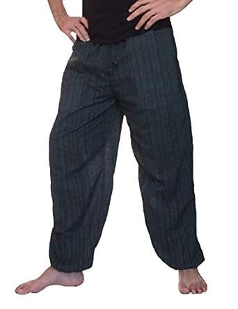 Love Quality Baggy Pants Men's One Size Cotton Harem Pants Hippie Boho Trousers (Black)