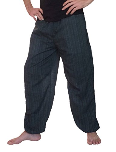 Pants Yoga Meditation (Love Quality Baggy Pants Men's One Size Cotton Harem Pants Hippie Boho Trousers (Black))
