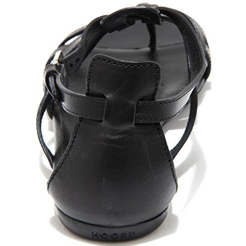 13974 sandalo HOGAN VALENCIA ANKLE STRAP scarpe donna shoes women Nero