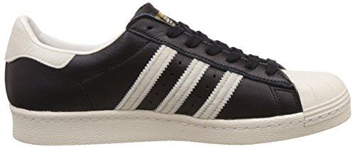 Adidas Mens Superstar 80s Core Zwart Schoeisel Witte Lederen Trainers 7.5 Ons