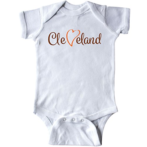 inktastic - Cleveland Heart Cursive Orange Infant Creeper 6 Months White 26e7a