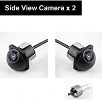 Pair Car Auto 20mm Hole Drilling Side View Camera Side Mirror Mount Reverse Mirrored Image with No Parking Assistance Lines Cam Safe Turning No Blind Spot for Car Monitor Stereo RCA - Pack of 2