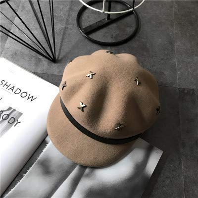Lovely Autumn and winter personality rivet decoration octagonal hat female literary retro beret fashion duck hat (Color : Beige, Size : M(56-58cm)) for winter ( Color : Beige , Size : M(56-58cm) )