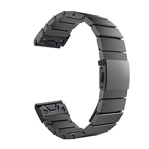 Fenix 5X/Fenix 5X Plus Quick Fit Watch Band,YOOSIDE 26mm Easy Fit Release Metal Stainless Steel with Security Buckle Watch Band Strap for Garmin Fenix 5X/Fenix 5X Plus/Fenix 3/Quatix 3 - Charlie Band