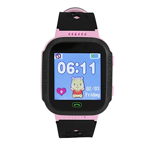 Kids Camera Smart Watch for Boys Girls Toddler, Kids Rechargeable Wristband Phones Touch Screen Voice Chat SOS Call LBS Tracker with Alarm, Flashlight, Camera, Remote Shutdown for Apple(Pink)