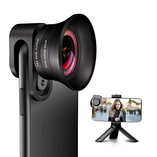 Phone Camera Lens Pro with Tripod - ANGFLY 4K HD 2 in 1 Aspherical Wide Angle Lens & Super Macro Lens,Clip-On Cell Phone Camera Lenses Compatible with iPhone,Android,Samsung Mobile Phones and Tablets