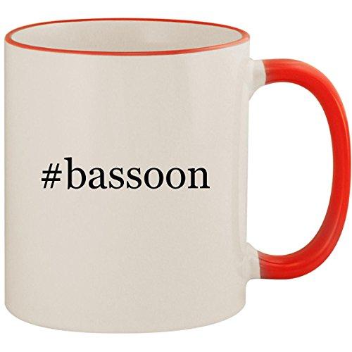 Coffee Gift Concerto (#bassoon - 11oz Ceramic Colored Handle & Rim Coffee Mug Cup, Red)