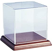 Choice Acrylic Displays Acrylic Box Case with Walnut Base | 5 Sided Display Box | Acrylic Cube | Size: 6-3/8 Hx6 Wx6 D by