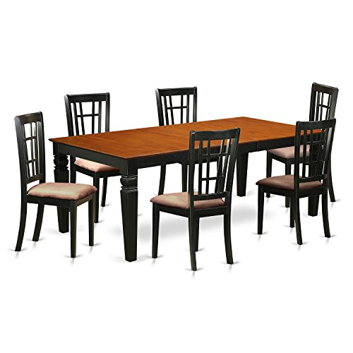 East West Furniture LGNI7-BCH-C 7Piece Dinette Set with One Logan Dining Room Table & 6 Dining Room Chairs in black & Cherry Finish
