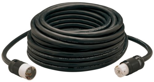 Coleman Cable 19190008 01919 50-Amp Twist-Lock Generator Power Extension Cord, 6/3 & 8/1 SEOW Black, 100-Foot