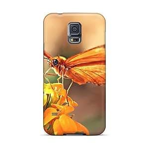For Galaxy S5 Fashion Design Orange Butterfly Case-lFW2222RHMz