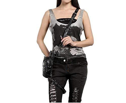 cintura multifuncional Black de punky FZHLY crossstbody Bolso de mujer PU negro Crossbody Hombro hombro de Bolso de qtFES
