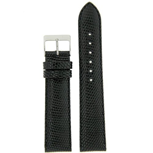 - Watch Band Genuine Lizard Black Padded Stitching 22 millimeter