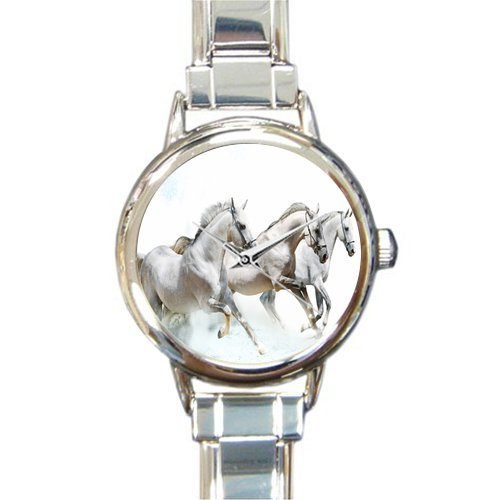 Personalized Watch Black Horse Running in the Water Round Italian Charm stainless steel Watch
