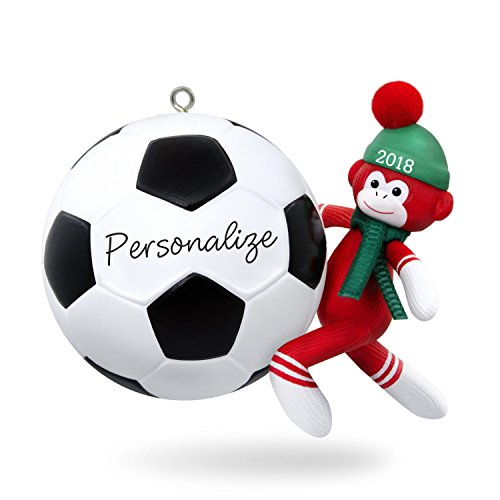 Hallmark Keepsake Personalized Christmas Ornament 2018 Year Dated, Soccer Star Sock Monkey]()