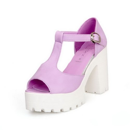 AmoonyFashion Womens Open Peep Toes High Heel Chunky Platform Soft Material PU Solid Sandals with T-strap Purple rXiClXCp2