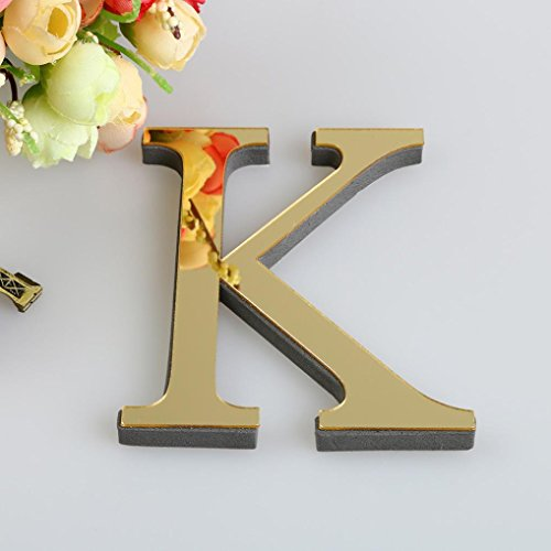 - 26 Letters DIY Decor 3D Mirror Wall Sticker, FEITONG Decals Home Decor Wall Art Mural (Gold, K)