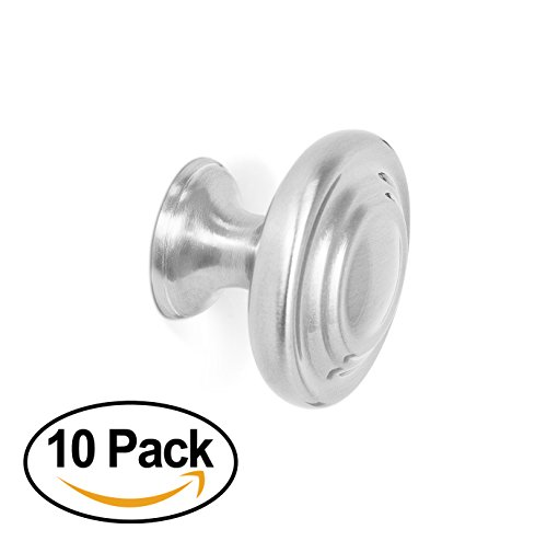 BirdRock Home Classic Cabinet Knobs | Brushed Nickel | 10 Pack | Kitchen Cupboard Furniture Cabinet Hardware Drawer Dresser Pull | 1.25 Inch Diameter