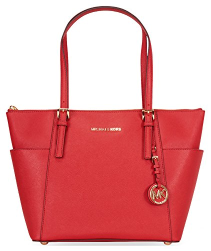 Michael Kors Jet Set Top-Zip Saffiano Leather Tote - Bright Red by Michael Kors