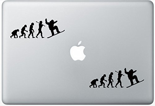 (Evolution Snowboarder Snowboard Snow Boarder Funny ArcDecals78600504 Set Of Two (2x) , Decal , Sticker , Laptop , Ipad , Car , Truck)