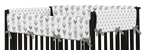 Sweet Jojo Designs 2-Piece Grey Side Crib Rail Guards Baby Teething Cover Protector Wrap for Woodland Arrow Collection by by Sweet Jojo Designs (Image #1)