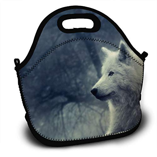 (Lcokin Customized White Wolf Painting Wallpaper Thermal Insulation Lunch Bag, Personal Handbag Lunch Bag)